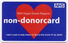 NHS Organ Donor Register - non-donorcard - I don't want to help others to live in the event of my death